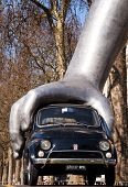 LONDON, UK - March 19: Vroom Vroom, the Fiat 500 sculpture by Lorenzo Quinn on Park Lane, March 19,