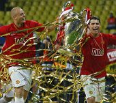 Cristian Ronaldo and Wes Brown Champions League Final held at Luzhniki Stadium Moscow 21 May 2008 an