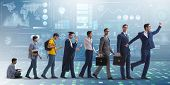 Business concept with man progressing through stages poster