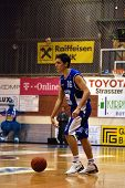 SZEKESFEHERVAR, HUNGARY - FEBRUARY 10: Kornel Kiss in action at a Hugarian Champonship basketball ga