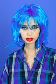 Fashion Model In Checkered Shirt And Red Lips. poster