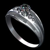 Silver or platinum engagement ring with diamond gem. Luxury jewellery bijouterie from white gold wit poster