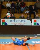 KAPOSVAR, HUNGARY - DECEMBER 19: Dora Ihasz receives the ball at the Hungarian NB I. League woman vo