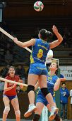 KAPOSVAR, HUNGARY - FEBRUARY 4: Barbara Balajcza (8) strikes the ball at the Hungarian NB I. League