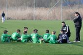 KAPOSVAR, HUNGARY - MARCH 9: Airnergy players listen to their trainer at the Hungarian National Cham
