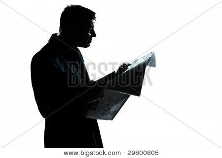one caucasian man portrait silhouette eading newspaper in studio isolated on white background