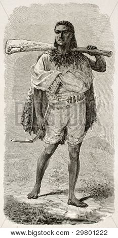 Abyssinian rifleman velho gravado retrato. Criado por Bayard após Lejean, publicado em Le Tour du M