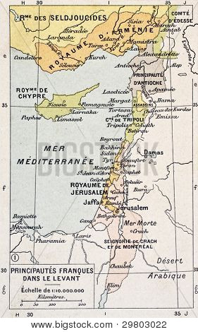 Medieval Eastern Mediterranean old map. By Paul Vidal de Lablache, Atlas Classique, Librerie Colin, Paris, 1894