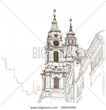 Vektor-Skizze der Kathedrale Sankt Nikolaus in Prag, Tschechische Republik