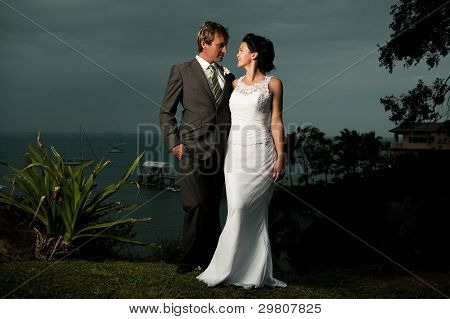 Bride And Groom Looking At One Another