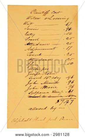 Very Old Legal Bill, Dated Early 1800S.