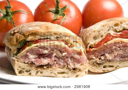 Gourmet Sandwich On Ciabatta Bread