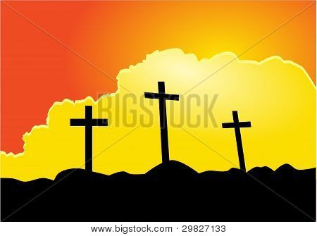 Picture or Photo of Calvary scene. Illustration three Crosses silhouette and clouds at sunset.