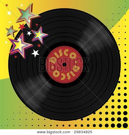 Vinyl disco music plate with art background