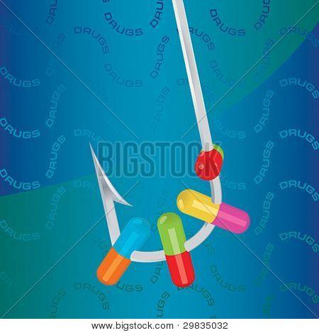 Pills on fish-hook, drug bait.
