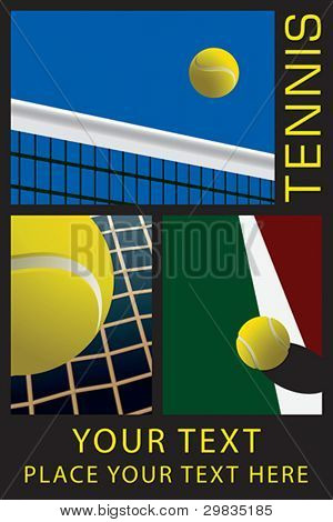Template with tennis theme illustrations.