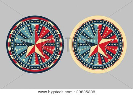 Stars and stripes, concepts for badge, sticker etc., Vector format EPS 8, CMYK.