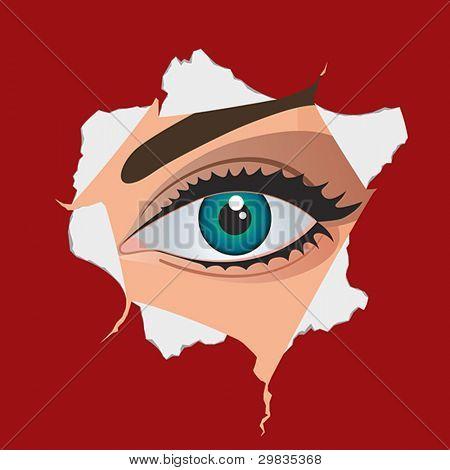 Frau Auge durch Papier Loch, Eps 8, Cmyk.