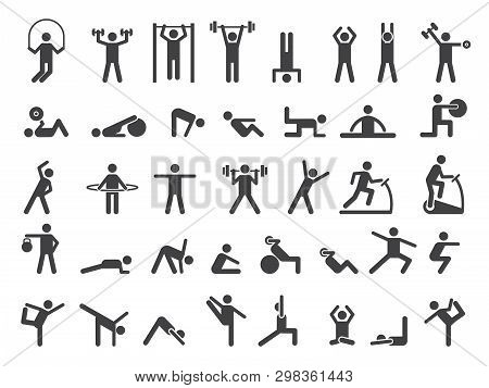 poster of Fitness Symbols. Sport Exercise Stylized People Making Exercises Vector Icon. Fitness Exercise, Trai