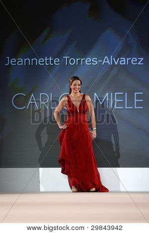 NEW YORK - FEBRUARY 8: Jeannette Torres-Alvarez wears Carlos Miele at The Heart Truth's Red Dress Collection 2012 Fashion Show at the Hammerstein Ballroom on February 8, 2012 in New York City.