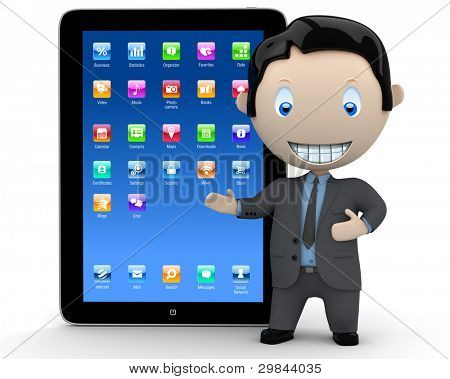 It's touchpad era! Social 3D characters businessman in suit  pointing at the modern touch pad organizer device. New constantly growing collection of expressive unique multiuse people images. Isolated.