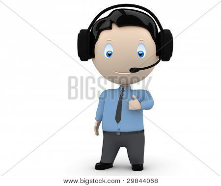 Call center operator likes you! Social 3D characters man wearing headset, necktie and shirt showing big finger. New constantly growing collection of expressive unique multiuse people images. Isolated.