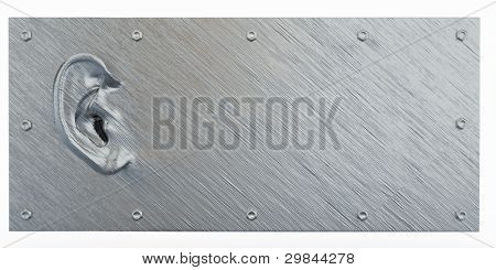 Metallic ear on abstract dirty background. 3d