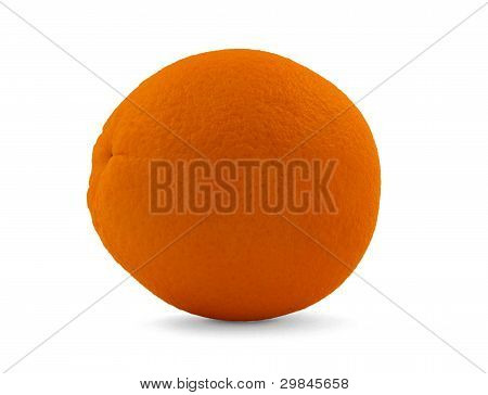 The Single Orange Isolated On A White Background.