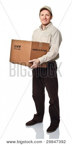 delivery man on white with box