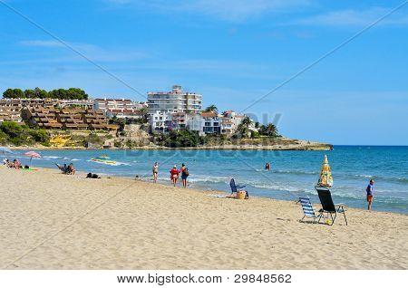 ALTAFULLA, SPAIN - SEPTEMBER 21: View of Altafulla beach on September 21, 2011 in Altafulla, Spain. This golden sand beach has a length of 1100 meters and an average width of 20 meters