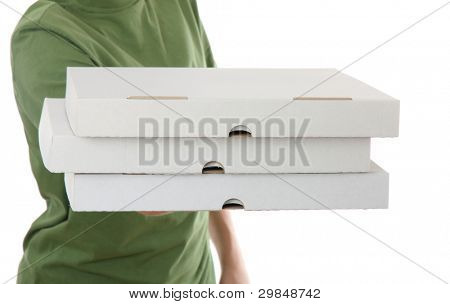 boy bringing a 3 cardboard pizza box, isolated on white background
