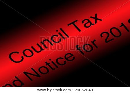 Closeup of council tax demand on a graduated red background
