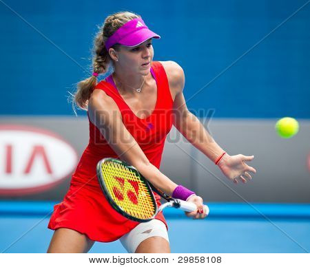 MELBOURNE - JANUARY 21: Maria Kirilenko of Russia who withdrew with injury during her third round match at the 2012 Australian Open on January 21, 2012 in Melbourne, Australia.
