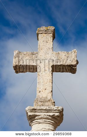 Stone Cross In Carrion De Los Condes