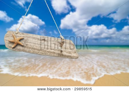 Wooden beach sign with starfish against an idyllic summer beach