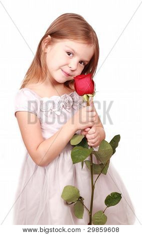 little girl with red rose