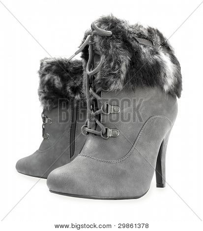 Gray high heels ankle boots with fur