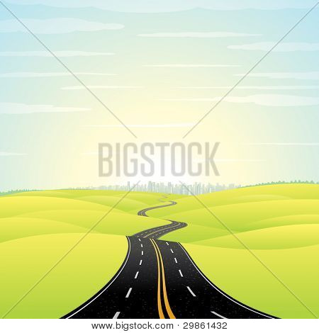 Abstract Illustration of Landscape with Highway. Picture of Road Going Toward the Skyscrapers in a Modern City at Sunrise. Colorful Vector Image.