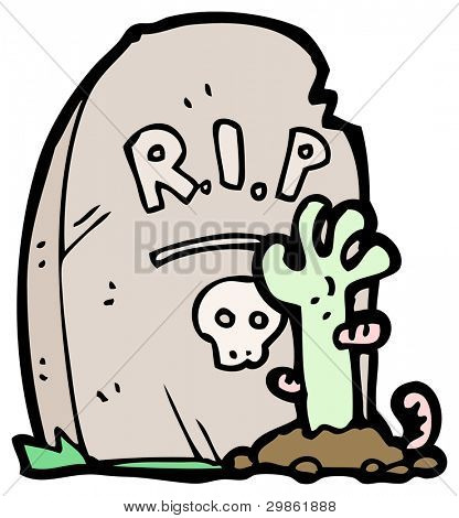 cartoon zombie rising from grave