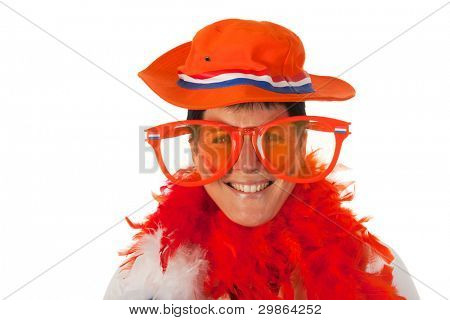 Dutch woman dressed in orange with big sunglasses as a soccer fan