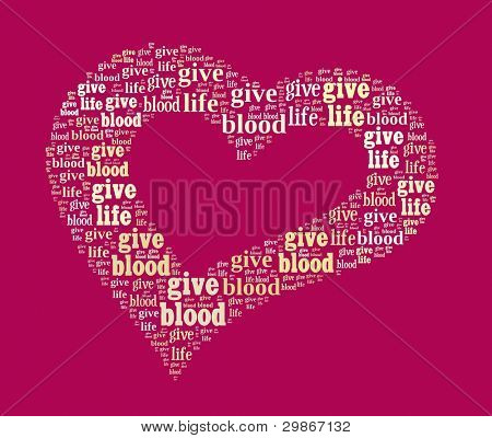 Give Blood, Give Life in Word Collage