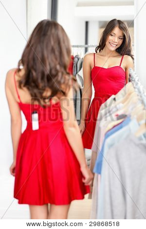 Woman Trying Dress