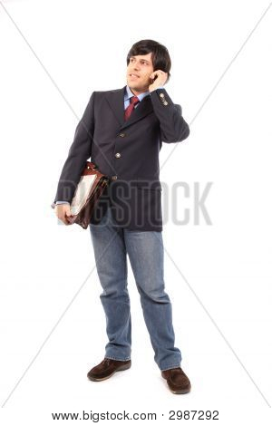 Young Business Man Talking On Cellphone