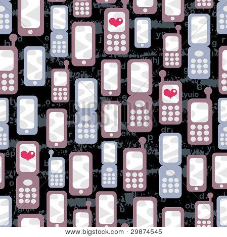 Seamless pattern with mobile phones and hearts.