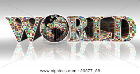 World Flags Word And Earth Globe