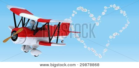 3D render of aMan sky writing in a biplane