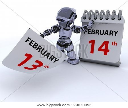 3D render of a robot with a calender