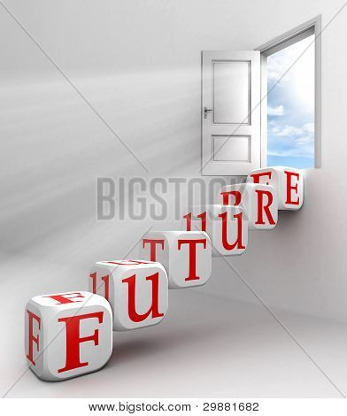 Future Red Word Conceptual Door