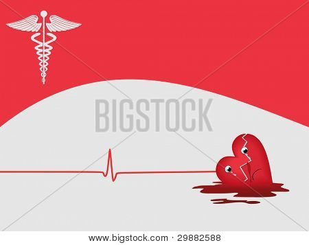 heart attack background with medical symbol on pink color background for medical purpose