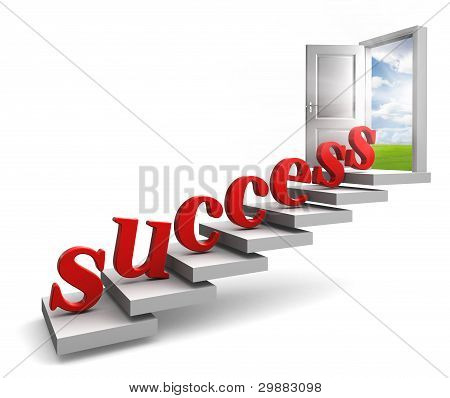 Success Red Letters Up To Door